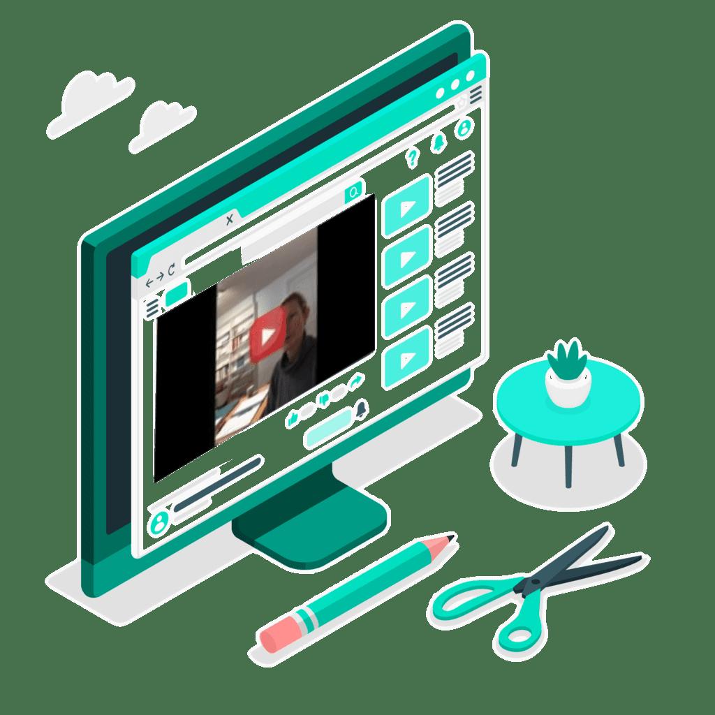 ordinateur avec vidéo